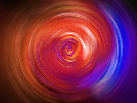 Light circle in red and indigo blue tunnel