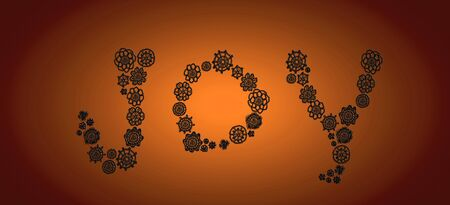 Joy composed by old crochet in black flowers over copper photo