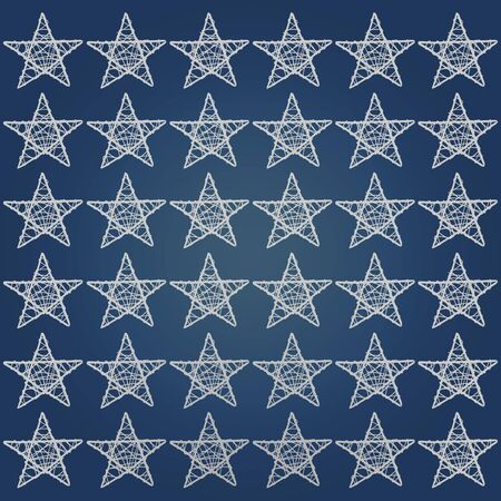 Dark blue background with white five points stars pattern photo