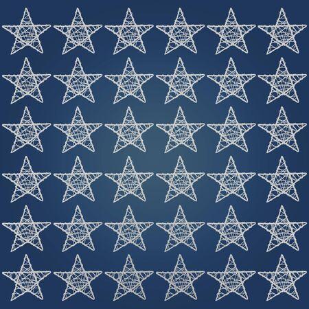 Dark blue background with white five points stars pattern photo