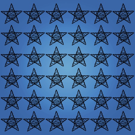 Black stars mosaic over blue photo