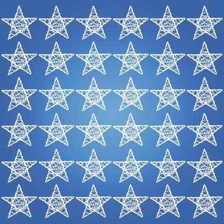 Cian blue backdrop with white five points stars mosaic photo