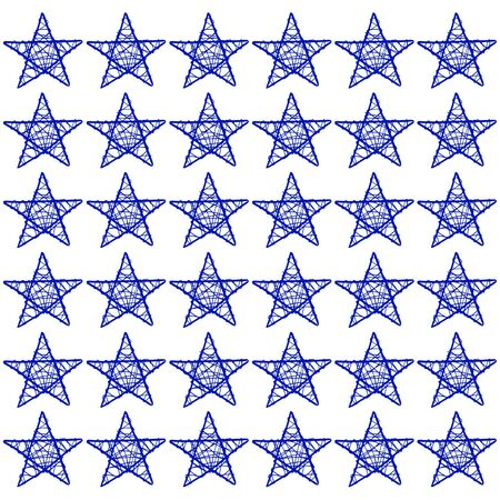 Blue stars mosaic isolated on white background photo