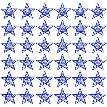 subtlety: Blue stars mosaic isolated on white background Stock Photo