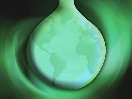 Green Earth globe in a water drop, ecological conceptual background Stock Photo - 13556060