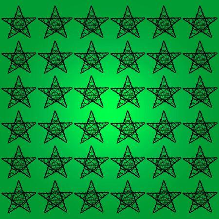 subtlety: Black five points stars over green backdrop