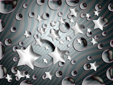 Gloss and transparencies in stars and bubbles over striped background photo