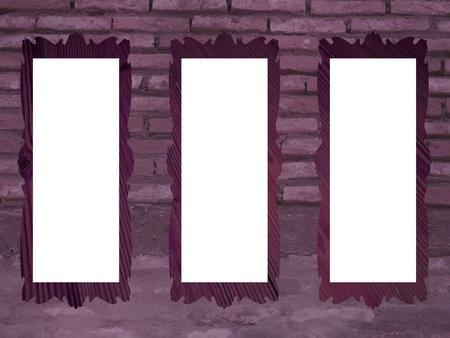 Purple brickwall with empty rectangular frames photo