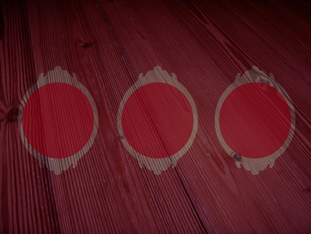 Red circular empty frames over warmth old wood photo