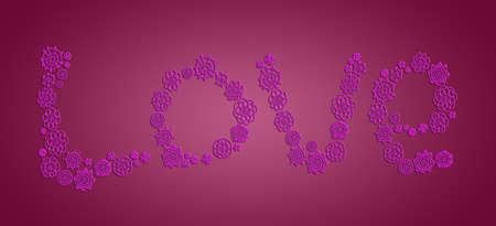 digitals: Purple love in crochet flowers over red wine background