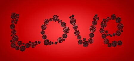 vermilion: Love in elegant crochet flowers over intense red backdrop for xmas
