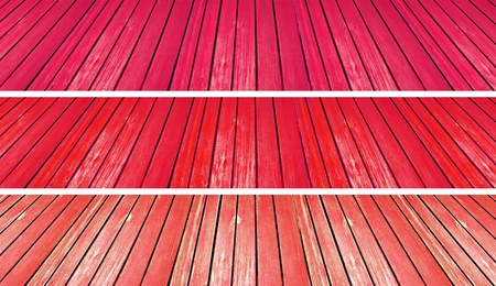 scenarios: Warm brilliant red old wood textures in three backgrounds
