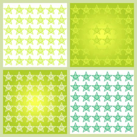 Mosaic tiles with stars in green tones photo