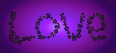 Old love of crochet flowers on juvenile purple background photo