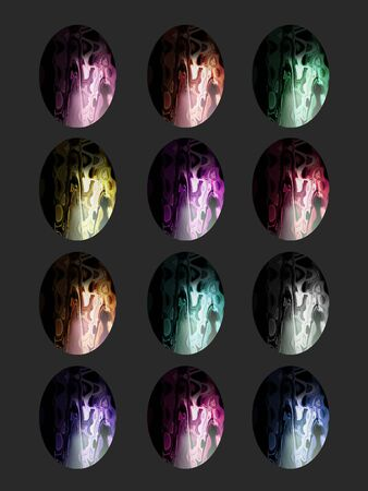 Semiprecious stones multicolor eggs isolated on black photo
