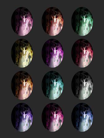 Semiprecious stones multicolor eggs isolated on black Stock Photo - 13562607