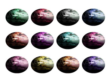 purpleish: Colorful stones cabochons isolated on white background
