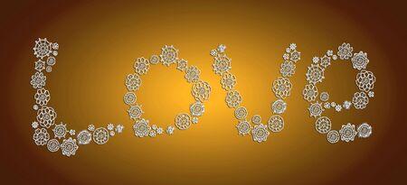 Love in white crochet flowers over bronze background photo