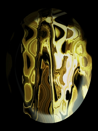 spherized: Polished textured golden jasper cabochon on black background Stock Photo