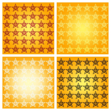 Orange gold yellow backgrounds with starry patterns with stars in four colors photo