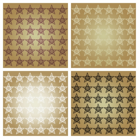 Bronze brown starry mosaic with four backgrounds with stars photo