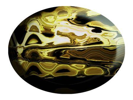 cabochon: Brown cabochon diaspro ovale di un anello isolato su bianco Archivio Fotografico