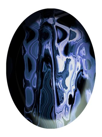 cabochon: Venato pietra cabochon blu e bianco isolato Archivio Fotografico