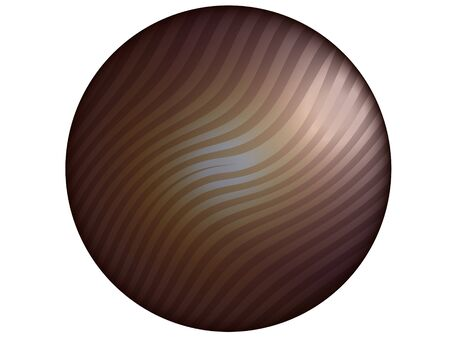 Brown metallized button in circle shape with stripes over white photo