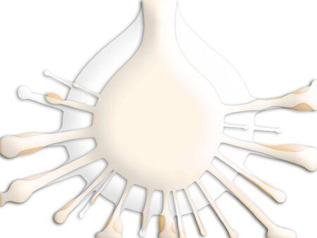 superposition: Tea and milk drops splashing on white background