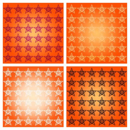 Orange Halloween background with four backgrounds with protection stars photo
