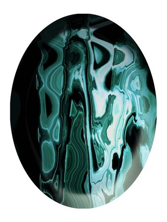 spherized: Green elegant jasper stone vertical cabochon isolated on white