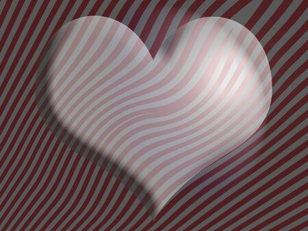 Heart with 3d volume in red and silver stripes over zebra background photo