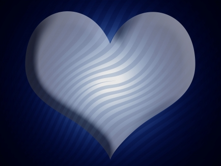 Blue illuminated heart with zebra pattern photo