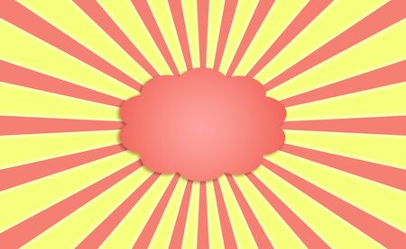 Empty orange cloud for text with energy radial rays over yellow Stock Photo - 13617270