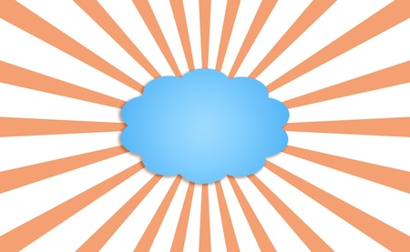 simetric: Blue dreaming cloud centered with orange ways over white