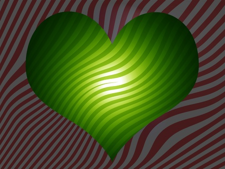 Light green heart over striped red and silver background photo