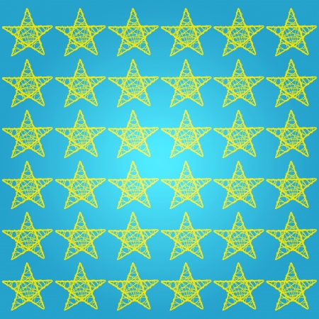 Yellow stars over turquoise blue square background Stock Photo - 13605142
