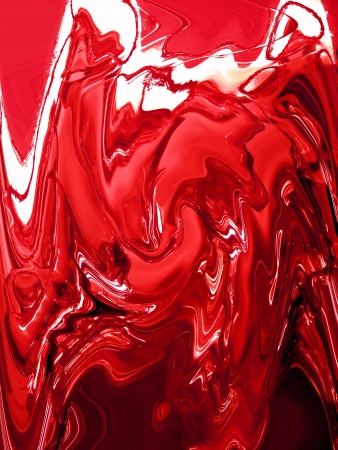 liquid state: Brilliant red metallic painting in liquid state as abstract background Stock Photo