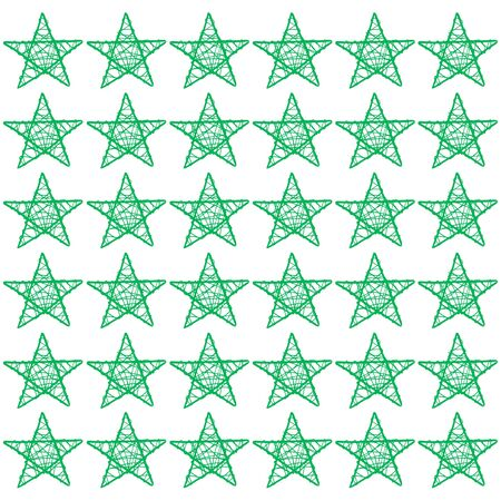 Green xmas stars of five points pattern in white square background photo