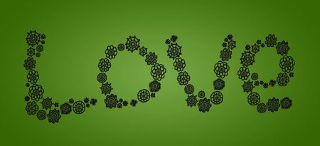 Love word in black flowers over olive green backgroundd photo