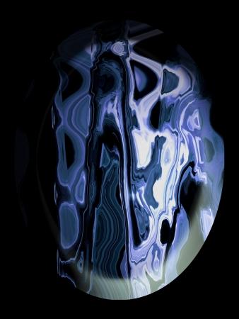 spherized: Blue agate oval stone on black background