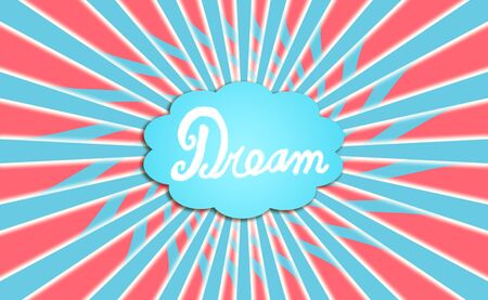 Blue dream word cloud background with red photo