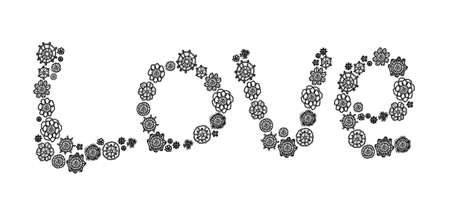 Love word with crochet elegance in black and white photo