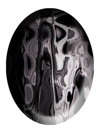 cabochon: Grigio pietra cabochon ovale su bianco Archivio Fotografico