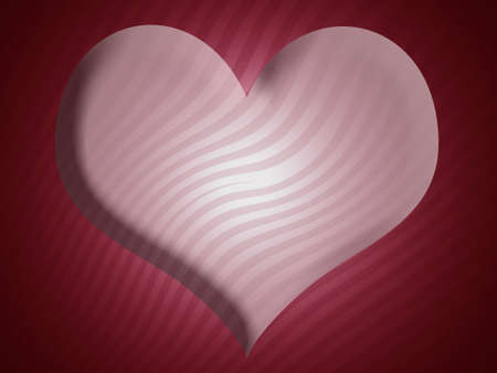 Heart shape in pink over red stripes backdrop photo