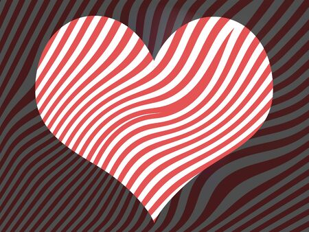 Striped background with a lighter part in heart shape with optic effect photo