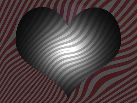 Striped heart background in red and grey stripes photo
