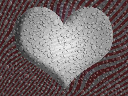 물결: 물 분무 방울과 빨간색과 회색 줄무늬 배경 위에 실버 마음 스톡 사진