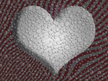 Silver heart over striped background in red and grey with water spray drops photo