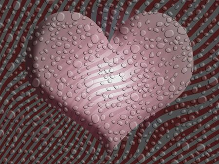 Pink wet heart over striped background with little water drops photo
